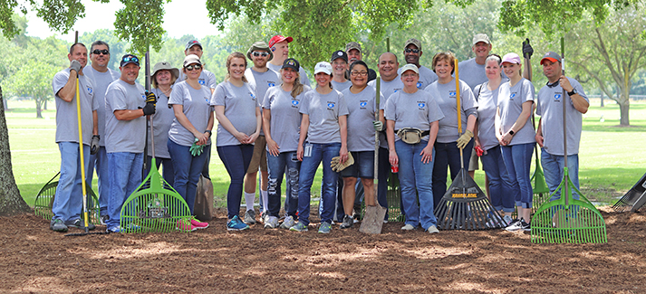 These volunteers at the Houston National Cemetery were among hundreds of employees who participated in some 50 projects nationwide for Calpine in Our Communities Day.